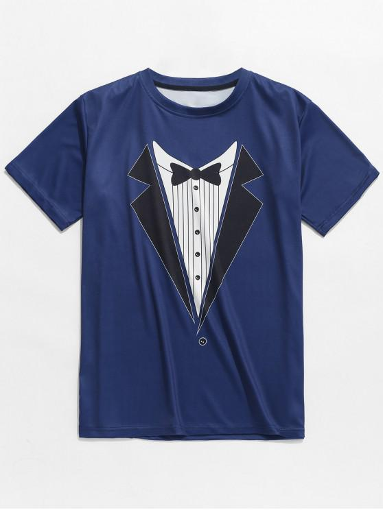Imitat-Bowknot-Reversdruck-Beiläufiges T-Shirt - Mitternacht Blau XL