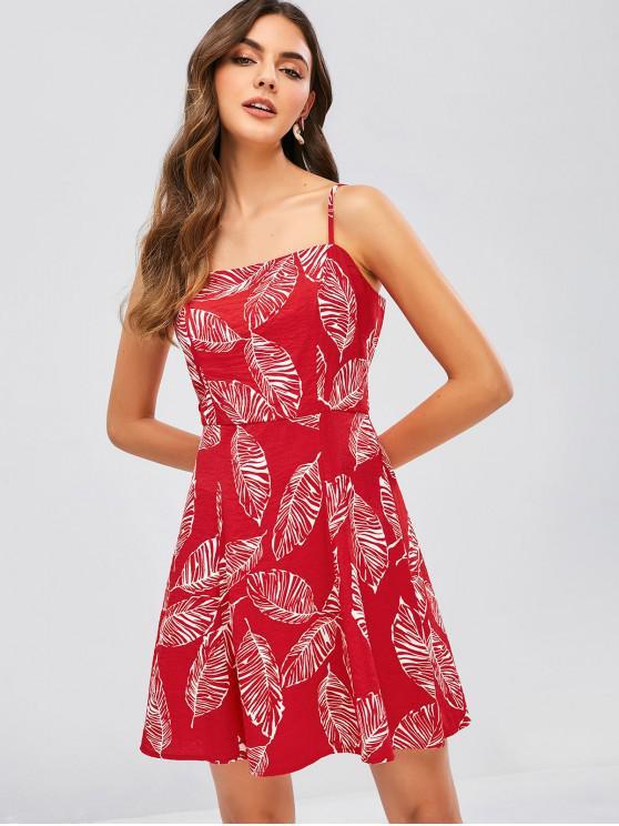 chic ZAFUL Leaf Cami Mini Dress - RED S