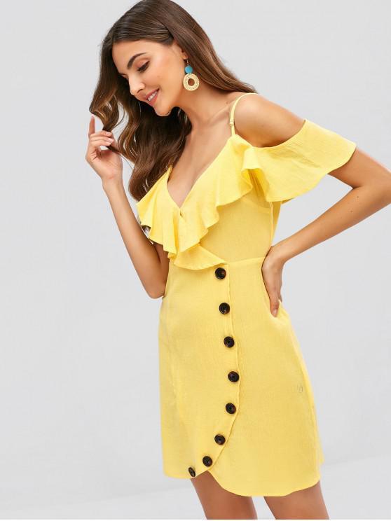 affordable ZAFUL Button Embellished Ruffle Tulip Dress - CORN YELLOW S