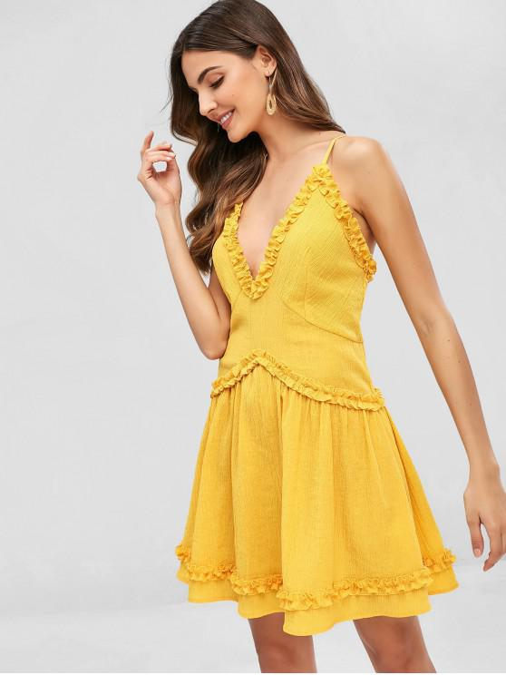chic ZAFUL Wrinkled Ruffles Cami Dress - RUBBER DUCKY YELLOW XL