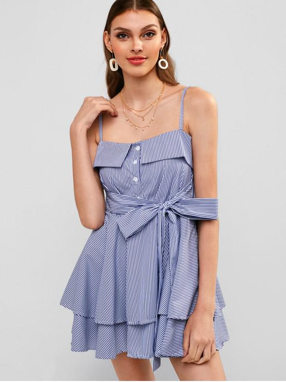 best Layered Stripes Knotted A Line Dress - BLUE L