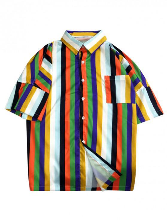 outfit Chest Pocket Striped Print Drop Shoulder Shirt - MULTI L