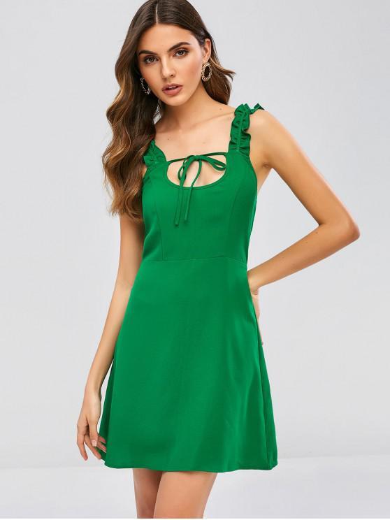 outfit ZAFUL Tied Smocked Ruffle Mini Dress - JUNGLE GREEN XL