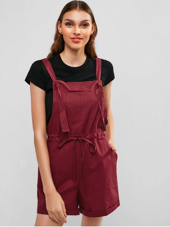 women Drawstring Front Pocket Overall Romper - RED WINE L