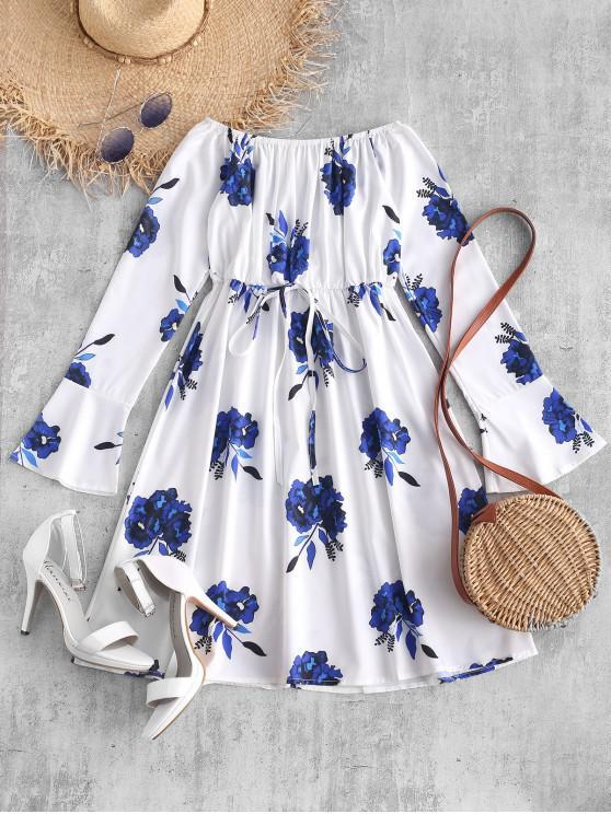 unique Off Shoulder Floral Print Flare Dress - WHITE L
