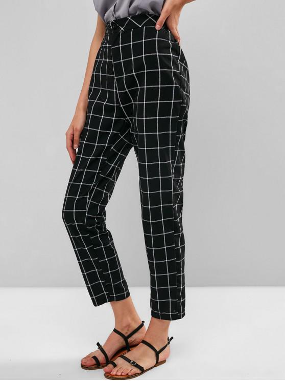 best High Waist Zipper Checkered Pants - BLACK M