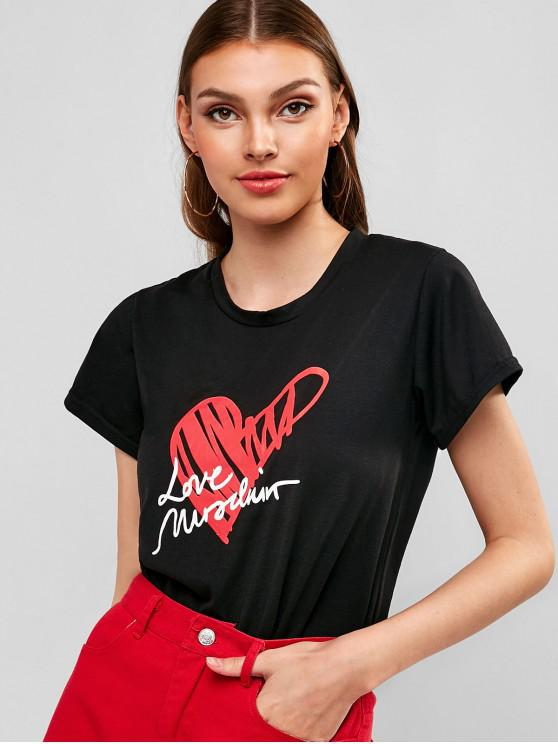 fashion Letter Heart Graphic Tee - BLACK XL