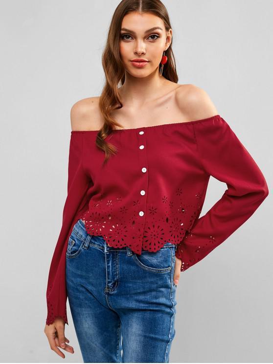 ladies Laser Cut Buttoned Off Shoulder Blouse - RED WINE XL
