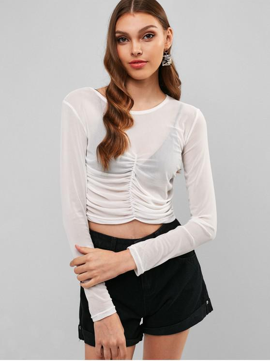 shop Mesh Ruched Sheer Crop Tee - WHITE M