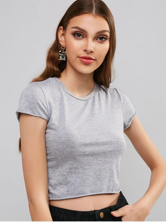 latest Short Sleeves Plain Crop Tee - GRAY ONE SIZE