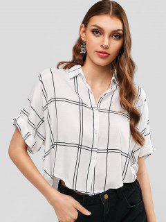 Button Down Cuffed Sleeve Plaid Shirt - Milk White M
