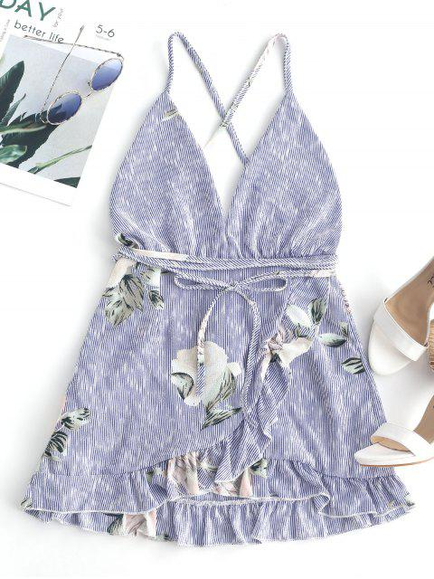 trendy Floral Criss Cross Ruffles Mini Dress - DEEP BLUE S Mobile