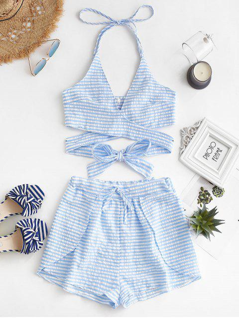 shop Criss Cross Stripes Top And Shorts Set - LIGHT SKY BLUE S Mobile
