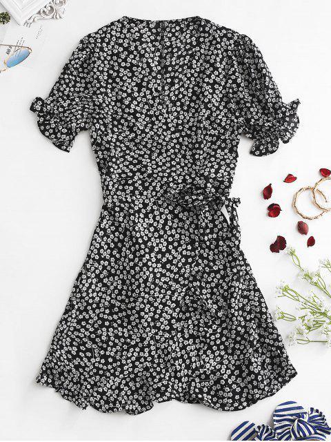 Mini vestido de envoltura de estampado floral - Negro L Mobile