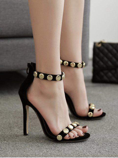 fashion Round Studded High Heel Sandals - BLACK EU 35 Mobile