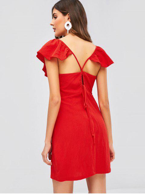 ZAFUL Robe Simple Croisée à Volants - Rouge M Mobile