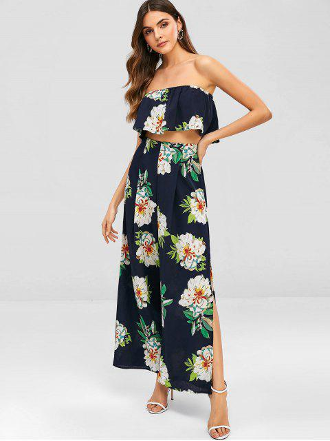 affordable Floral Bandeau Top and Split Pants - MIDNIGHT BLUE S Mobile