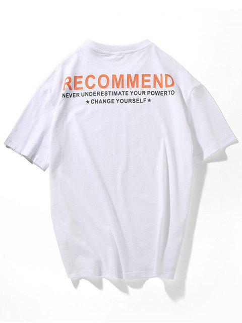 affordable Letters Print Side Slit Asymmetric T-shirt - WHITE 3XL Mobile