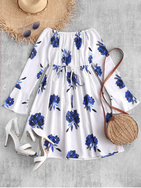 best Off Shoulder Floral Print Flare Dress - WHITE M Mobile