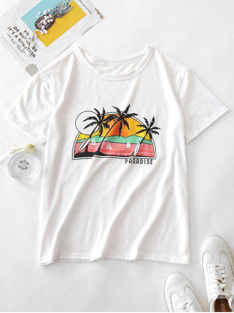new ZAFUL Letter Palm Tree Graphic Short Sleeve Tee - WHITE S Mobile