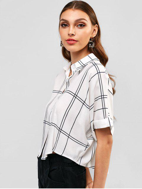 shop Button Down Cuffed Sleeve Plaid Shirt - MILK WHITE S Mobile