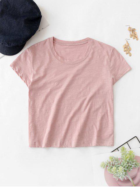 Camiseta Manga Corta Crop Solid - Rosado Talla única Mobile