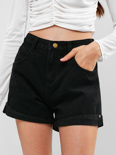 buy High Waisted Denim Cuffed Shorts - BLACK L Mobile