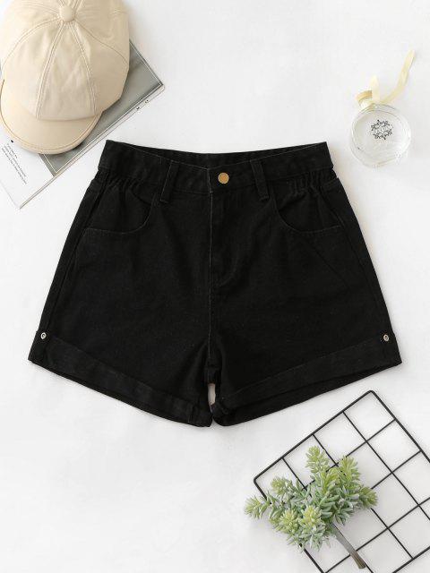 Shorts Denim Cintura Alta y Cordones - Negro M Mobile