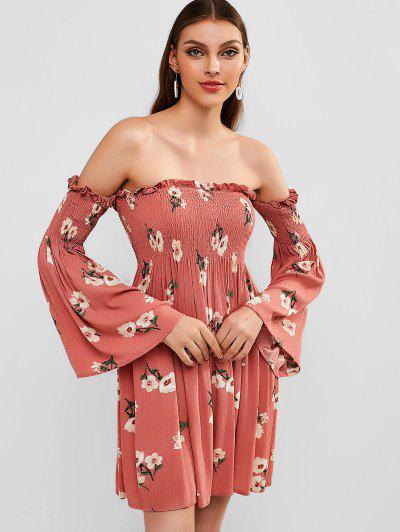 ZAFUL Smocked Floral Off Shoulder Dress - Pink S ... 995d54bdc
