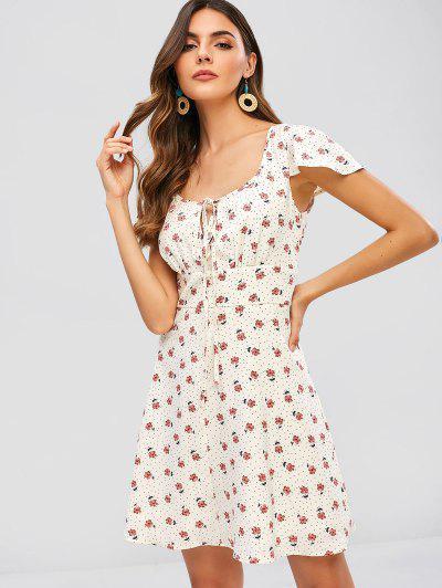 28549f948b4 ... ZAFUL Floral Polka Dot Keyhole Flare Dress - Warm White M