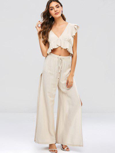 69453cba469d55 ZAFUL Ruffles Cropped Top And Slit Pants Set - Beige S