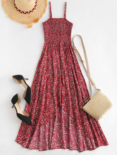 96f26a7d7 ... ZaFul Smocked Minúsculo Floral Assimétrico Cami Dress - Vinho Tinto M
