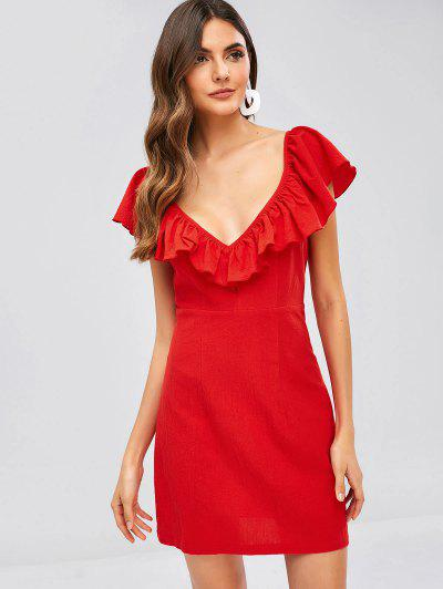 ZAFUL Criss Cross Ruffles Plain Dress - Red S