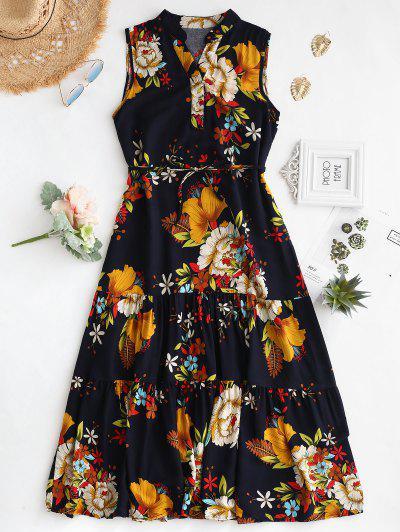46d3f80df62 ZAFUL. Floral Print Belted Sleeveless Dress - Goldenrod M ...
