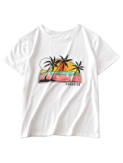 ZAFUL Letter Palm Tree Graphic Short Sleeve Tee, White