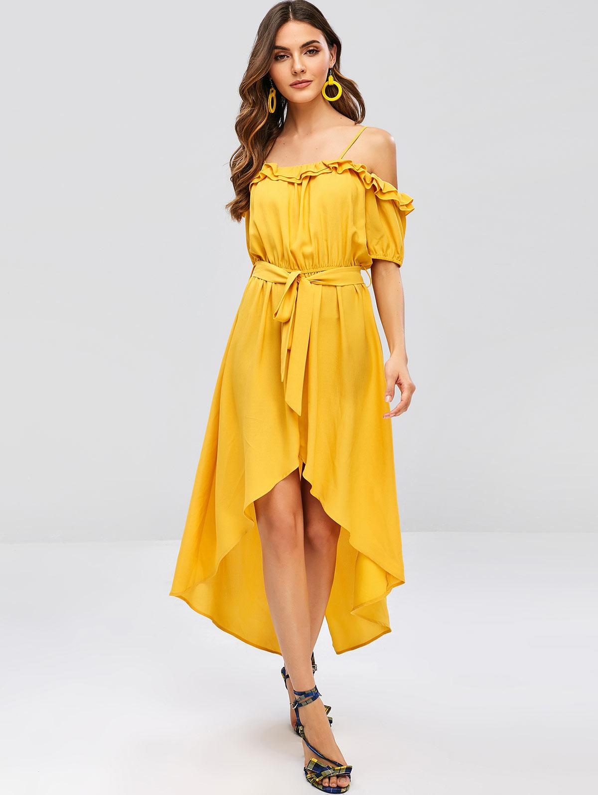 ZAFUL Ruffles Belted Asymmetric Cami Dress, Bee yellow