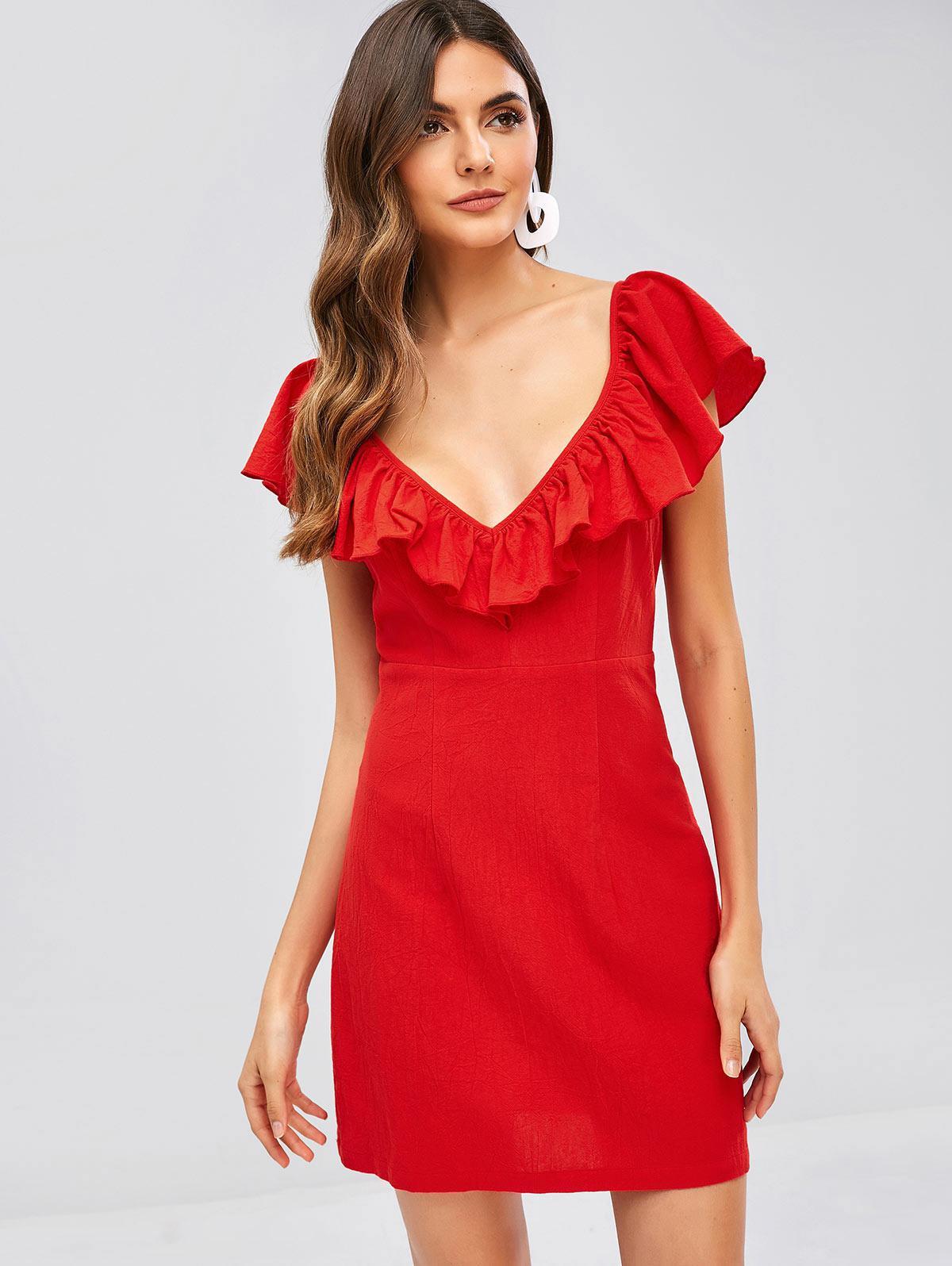 ZAFUL Criss Cross Ruffles Plain Dress, Red