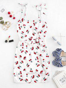 535686cbcaa7 28% OFF] [HOT] 2019 Cherry Print Belted Cami Dress In WHITE | ZAFUL
