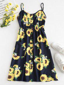 64ca8b974e Button Sunflower Print Midi Dress  Button Sunflower Print Midi Dress ...