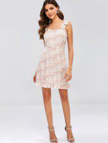 a15ef196b4db ZAFUL Flounce Tie hombro mini vestido