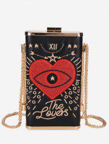 حقيبة كروس تطريز قلب - أسود