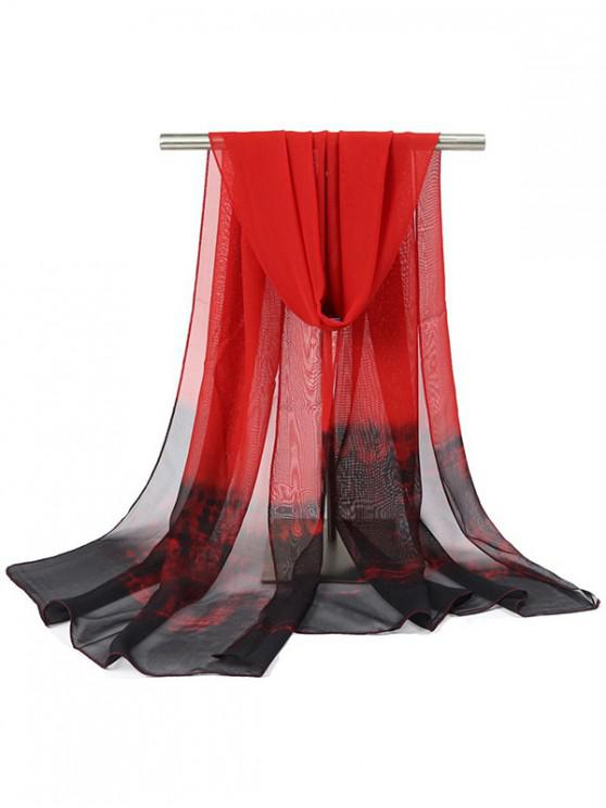 buy Ombre Painting Print Chiffon Beach Scarf Shawl - RED