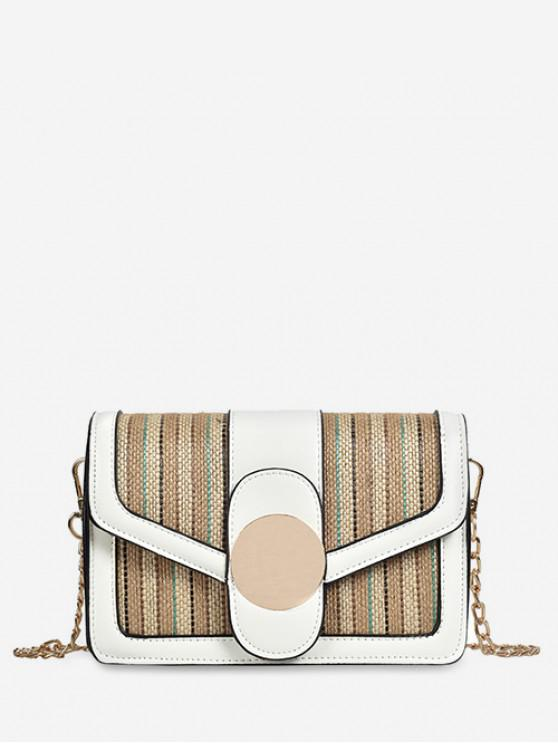 hot Knitted Jointed Chain Shoulder Bag - WHITE