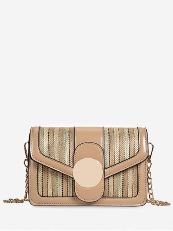 shops Knitted Jointed Chain Shoulder Bag - KHAKI