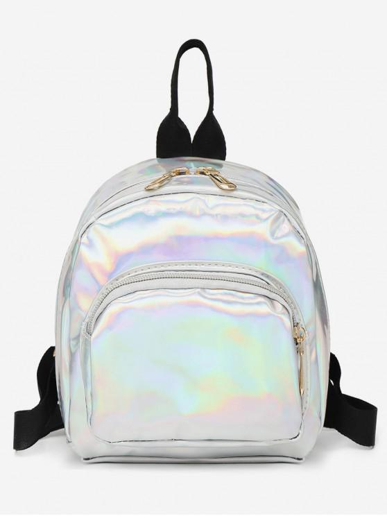affordable Mini Glossy Casual Soft Backpack - SILVER