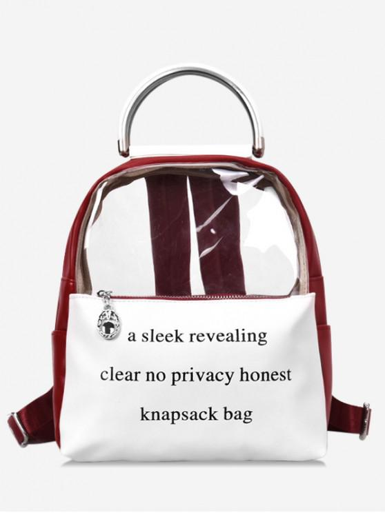 sale Letter Decoration PU Backpack - RED WINE