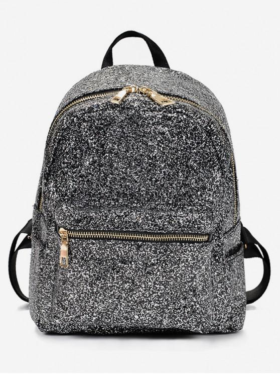 buy Sequined Chic Style Student Backpack - BLACK
