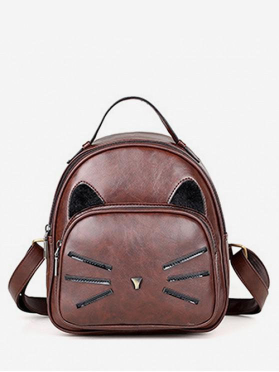 lady Cat Pattern PU Backpack - BROWN