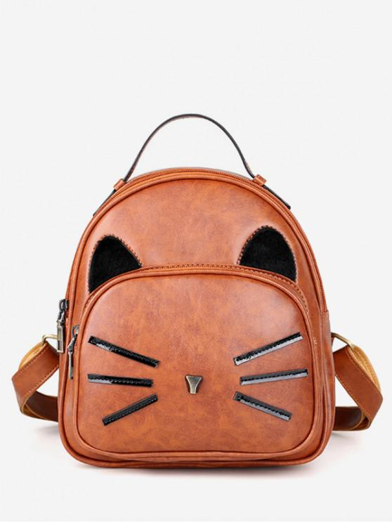 hot Cat Pattern PU Backpack - LIGHT BROWN
