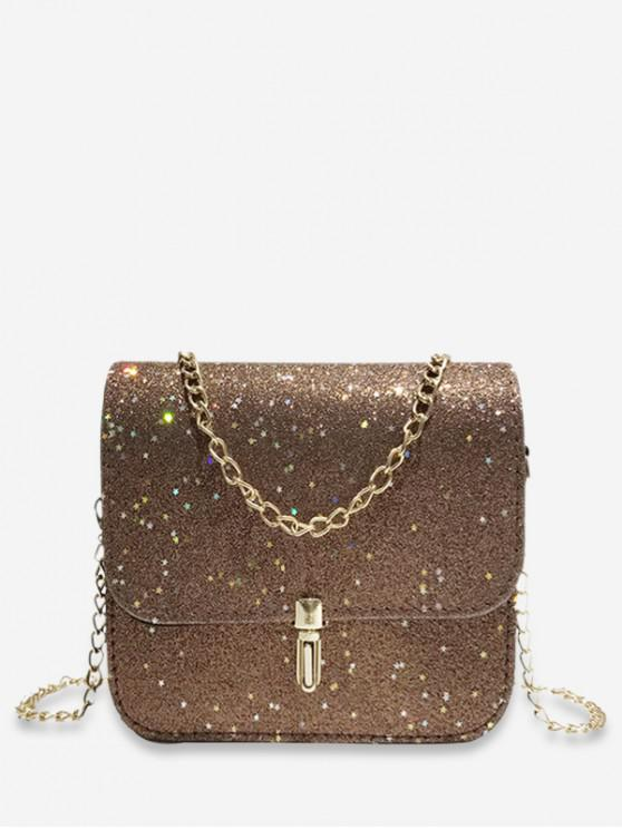 outfit Star Shape Sequins Design Crossbody Bag - LIGHT BROWN